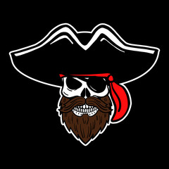 hand drawn vector pirate skull with beard, hat and eye patch. T-shirt template, halloween, evil eye.
