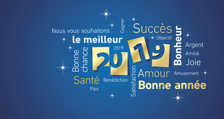 Happy New Year 2019 negative space French cloud text gold white blue vector