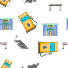 City buildings pattern. Cartoon illustration of city buildings vector pattern for web