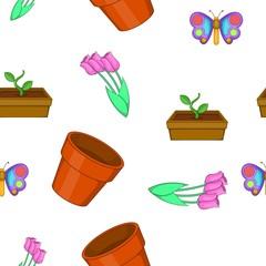 Garden pattern. Cartoon illustration of garden vector pattern for web