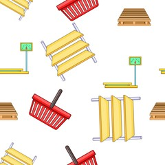 Purchase in shop pattern. Cartoon illustration of purchase in shop vector pattern for web