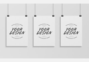 Three Hanging Posters Mockup