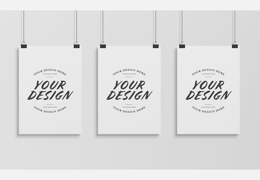 Three Hanging Posters Isolated on Wall Mockup
