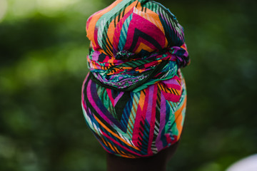 Close up of colorful headscarf