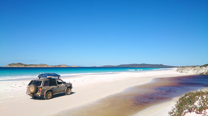 View of Beach on Fraser Island with one car