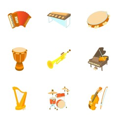 Musical instruments icons set. Cartoon illustration of 9 musical instruments vector icons for web