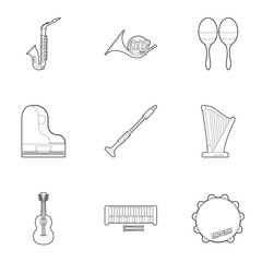 Tools for music icons set. Outline illustration of 9 tools for music vector icons for web