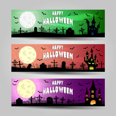 Three horizontal Halloween banners detailed vector set