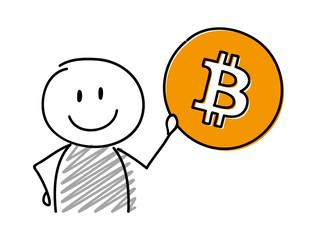 Happy stickman holding bitcoin icon. Vector.