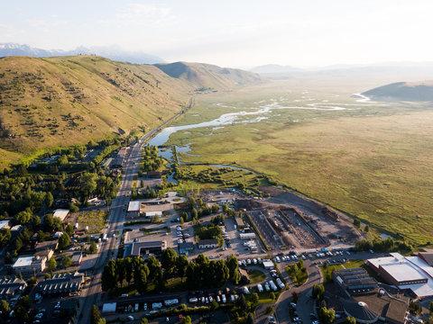 Jackson, Wyoming mountain town sunrise aerial landscape views