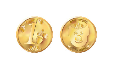 Golden coin one acorn. Heads and tails for decoration and design. New year 2019 oink bank with the image piglet. Vector illustration in concept of save money or open a bank deposit