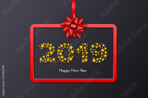 holiday new year 2019 gift card with red frame and bow template for a banner