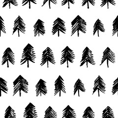 Seamless pattern with hand drawn fir-trees. Seamless patterns with black fir-trees. Christmas ornament.