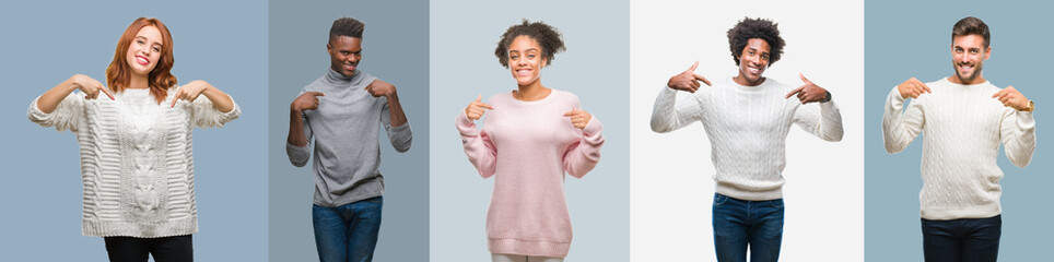 Collage of group of african american and hispanic people wearing winter sweater over vintage background looking confident with smile on face, pointing oneself with fingers proud and happy.