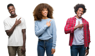 Collage of african american group of people over isolated background cheerful with a smile of face pointing with hand and finger up to the side with happy and natural expression on face