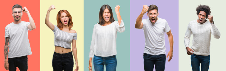 Composition of african american, hispanic and chinese group of people over vintage color background angry and mad raising fist frustrated and furious while shouting with anger.