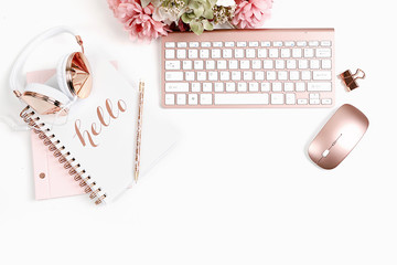 Rose Gold Styled Desktop on White