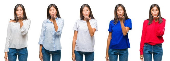 Composition of chinese asian woman over isolated background looking at the camera blowing a kiss with hand on air being lovely and sexy. Love expression.