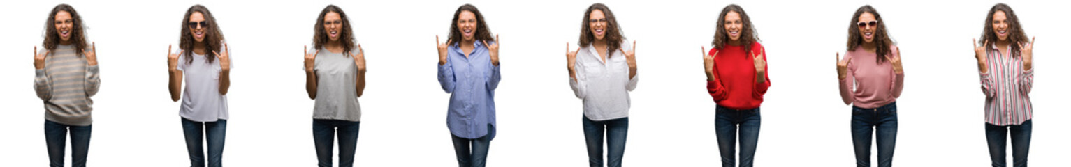 Composition of young brazilian woman isolated over white background shouting with crazy expression doing rock symbol with hands up. Music star. Heavy concept.