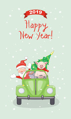 New year 2019 card with santa and piggy in retro car