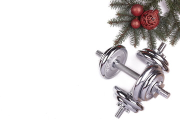 Sport equipment and Christmas decorations. Fitness..