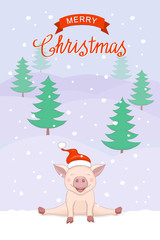christmas card with cute piggy on the winter landscape