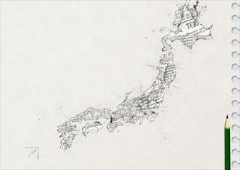 ノートに鉛筆で描いた日本地図