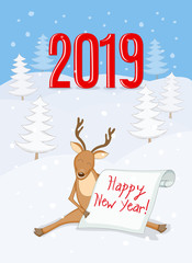 New year 2019 card with reindeer and scroll