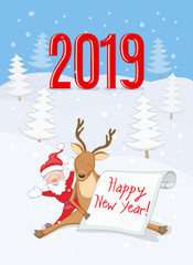 New year 2019 card with reindeer, santa and scroll