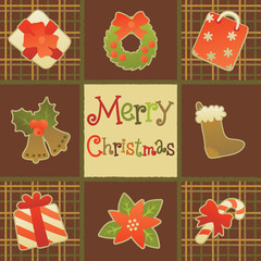 Merry christmas greeting card/. Vector christmas background with   christmas decoration and lettering  Merry Christmas