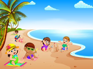 the summer vacation in the beach with the children relax and playing near the beach