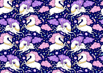 Vector seamless pattern with mythical animals. Galloping cute white unicorns with golden horn, pink, violet mane, tail.