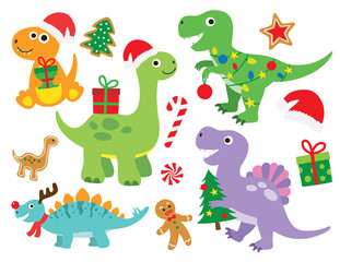 Christmas Dinosaur Vector Illustration
