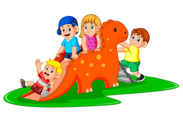 the happy children playing the dinosaur slide and some of them climb the ladder