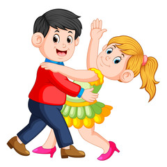 the beautiful girl dancing salsa with her boy and they dancing together