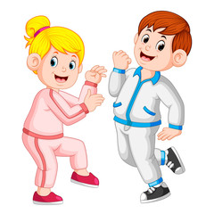 the perfect couple doing sport together and using the tracksuits