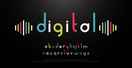 digital alphabet font music with colorful typography. vector illustration