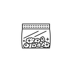 Bag of marijuana vector line art icon black on white background cannabis marijuana industry business symbols