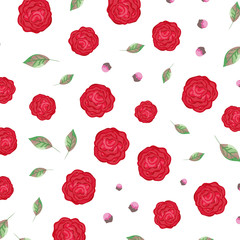 roses and leafs pattern background