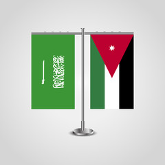 Table stand with flags of Saudi Arabia and Jordan.Two flag. Flag pole. Symbolizing the cooperation between the two countries. Table flags