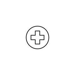 Medical health hospital symbol vector line art icon black on white background cannabis marijuana industry business symbols