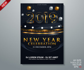 vector illustration of happy new year 2019 gold and black collors