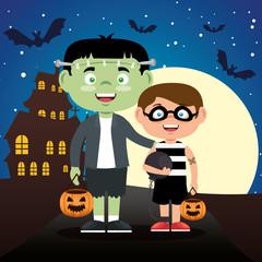 children dressed up in halloween night