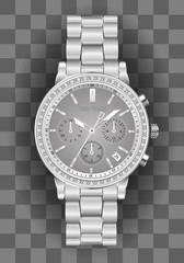 Realistic clock chronograph watch for men silver diamond grey face on checkered background luxury vector illustration.