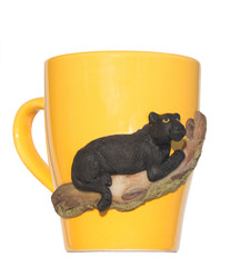The product of polymer clay. Black Panther on the mug
