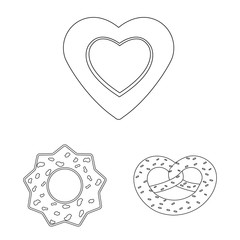Isolated object of biscuit and bake symbol. Collection of biscuit and chocolate vector icon for stock.