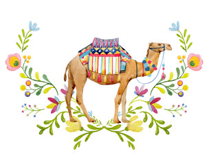 Watercolor camel illustration