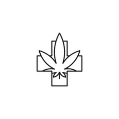 Medical leaf cross vector line art icon black on white background cannabis marijuana industry business symbols