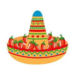 mexican hat with chili peppers