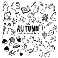 Autumn Illustrations Pack(Elements)/Doodle Clip Art/Hand Drawn